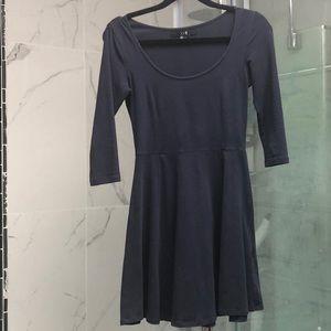 Forever 21 3/4 sleeve skater dress navy blue sz s